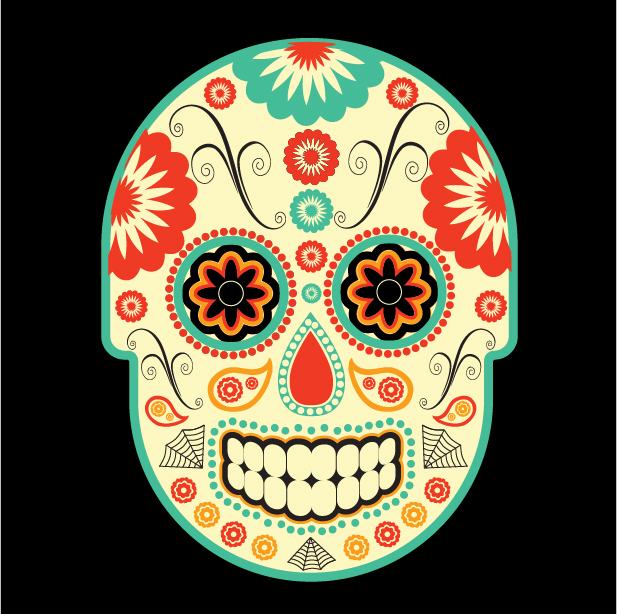 Day of the Dead (dia de los Muertos) Illustration (using vector art)