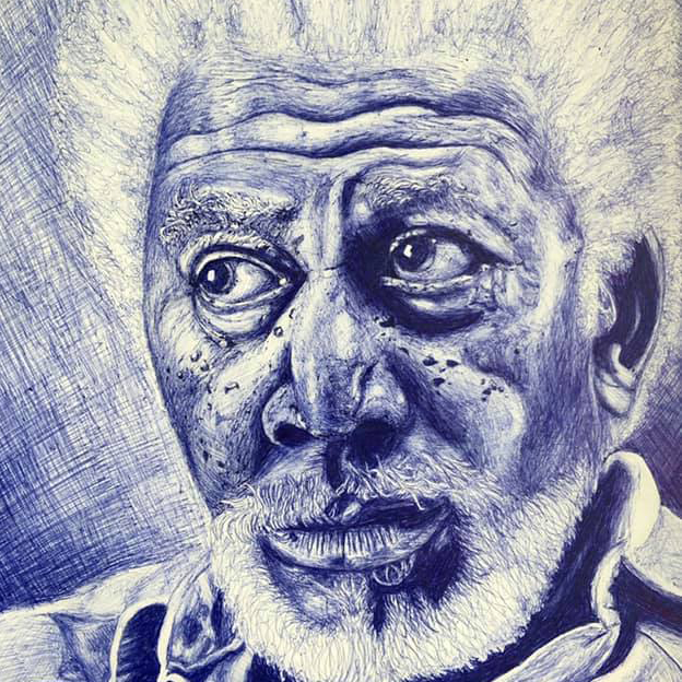 Elderly Blue Pen Portrait